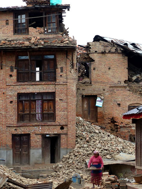 Destroyed buildings in Kathmandu following the 2015 earthquakes.