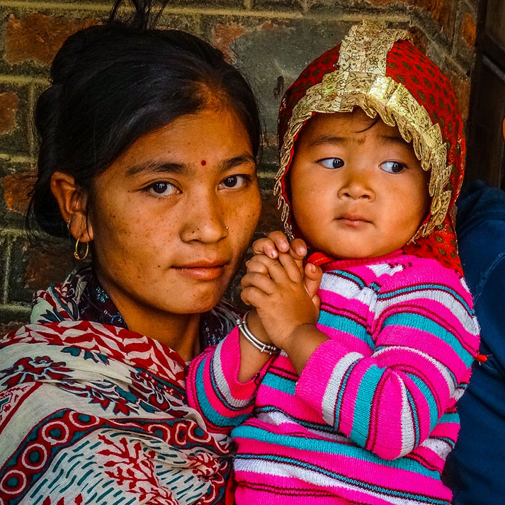 A woman and child in Nepal.