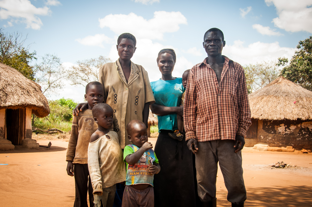 Farmer Onen Charles with his family in Gulu District, Uganda