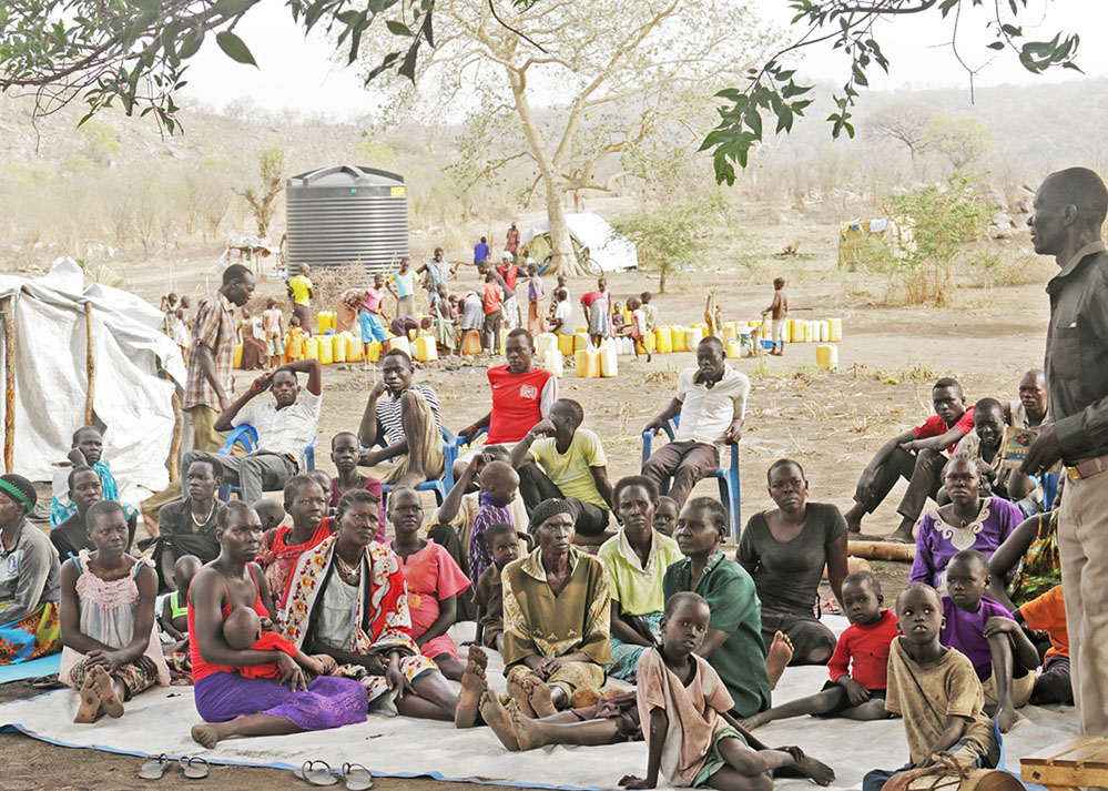 People in South Sudan who are suffering through a famine.