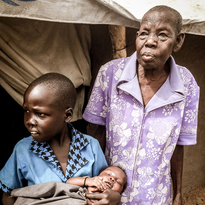 A woman, young boy and baby are shown in South Sudan.