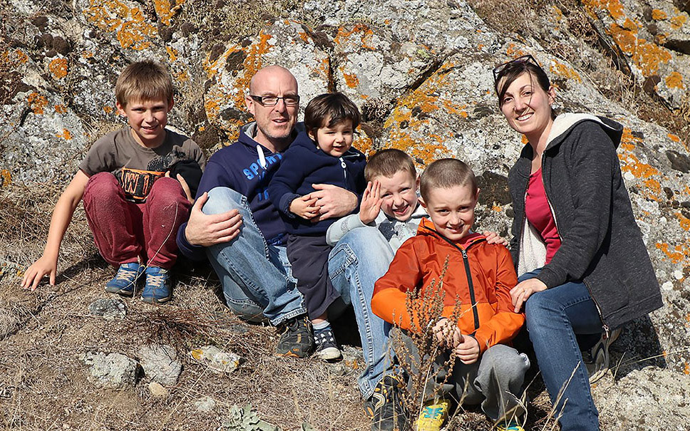 David and Claire-Lise Judkins, pictured here with their children Joshua, Nathan, Samuel and Ben, are asking for your prayers.