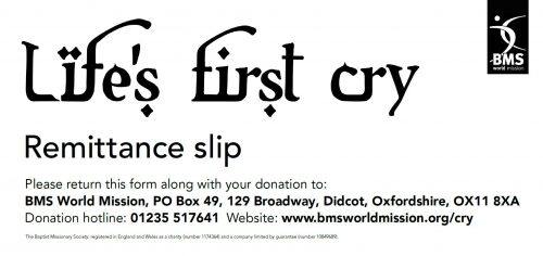 Life's First Cry remittance slip cover image