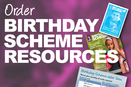 Images of birthday scheme envelope, poster, and order form with link to order birthday scheme resources