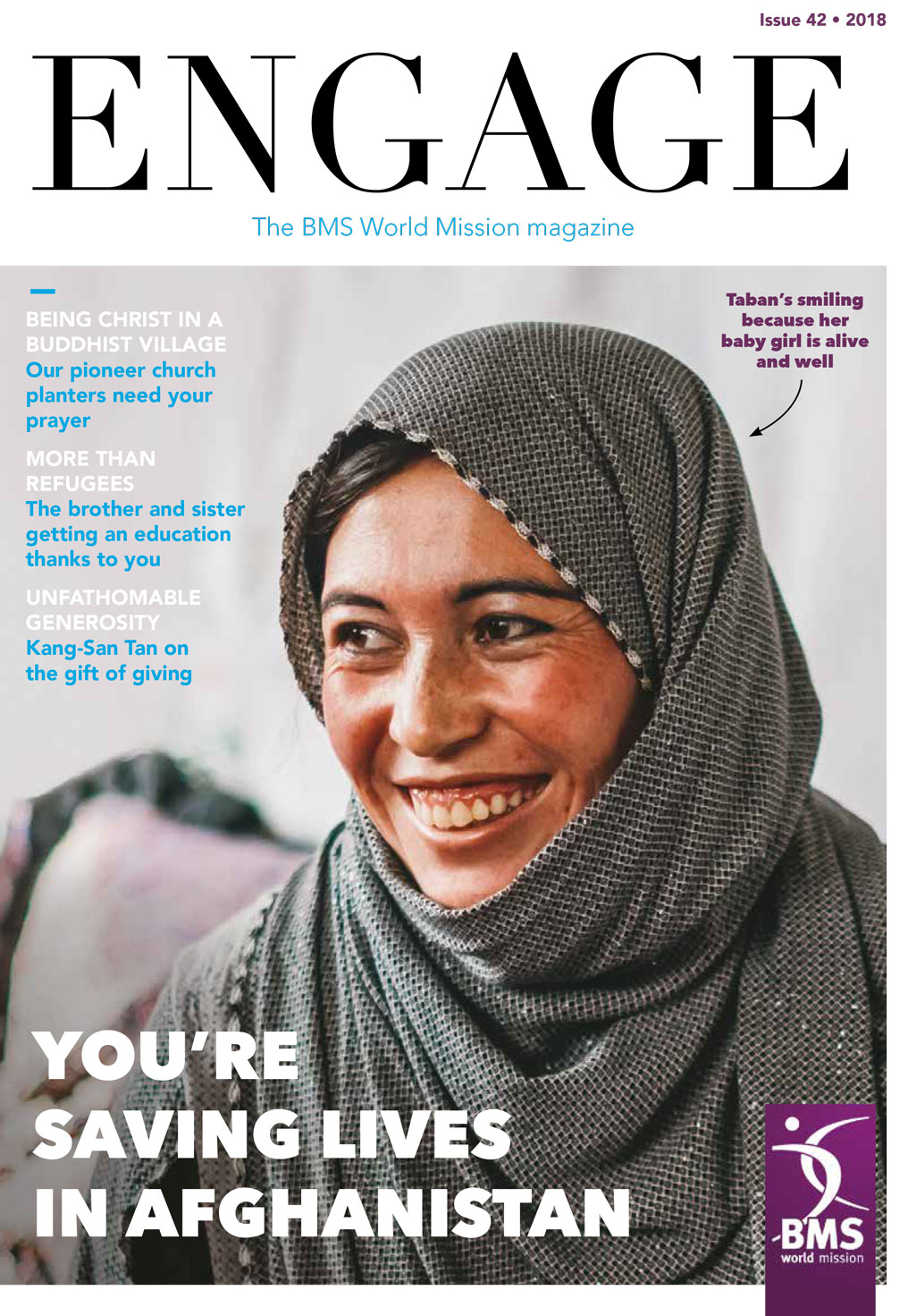 Cover of Engage with photo of a smiling woman. The headline is 'You're saving lives in Afghanistan'