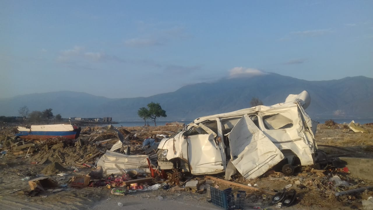 The scene of devastation caused by an earthquake and tsunami on the Indonesian island of Sulawesi