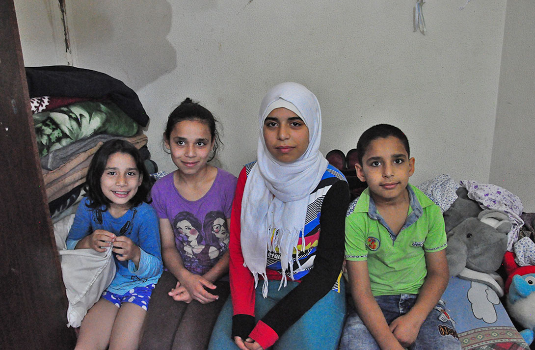 Shakala and her family live in a single room in Lebanon. Y