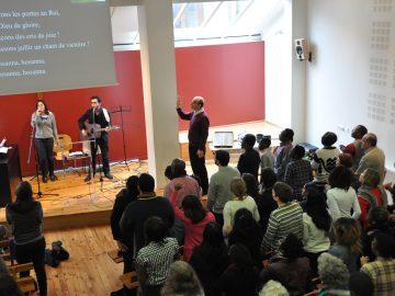 People worship in a church