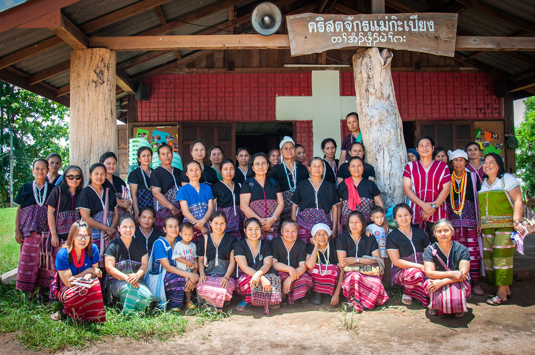 A group of Karen women in front of their church