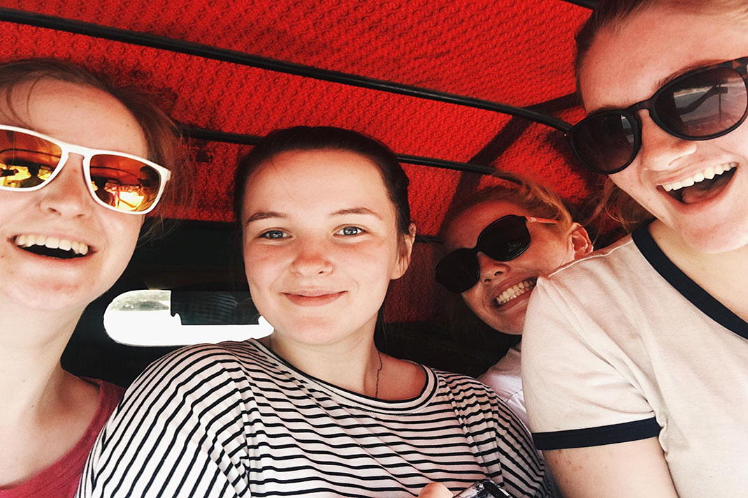 The Action Team in Delhi take a selfie in a tuk tuk
