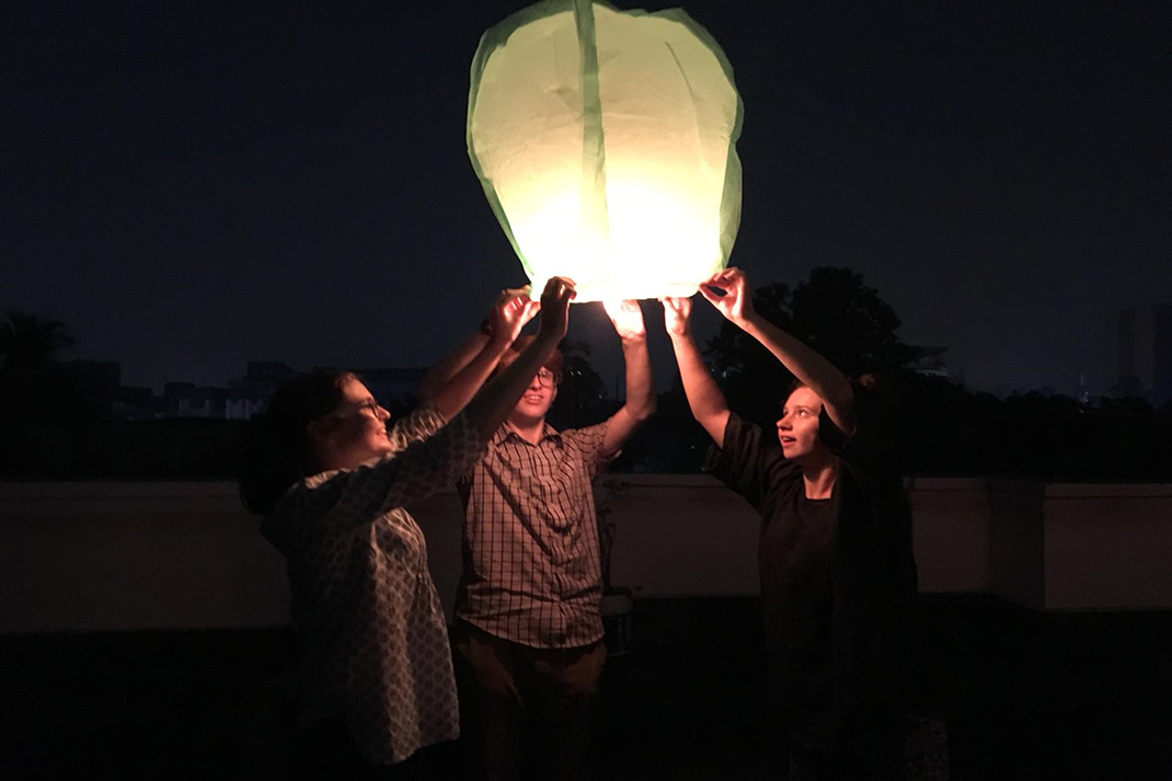 The Action Team in Kolkata let off a lantern