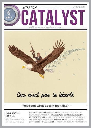 The cover of Mission Catalyst features an homage to Magritte's surrealist painting 'Ceci n'est pas une pipe', but featuring Donald Trump riding on an eagle brandishing an automatic weapon and a Bible. The caption reads 'Ceci n'est pas la liberte'.
