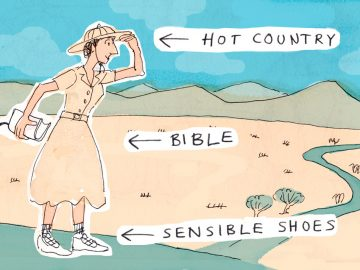 An illustration of a cliche mission worker, a woman standing in a desert with a bible.