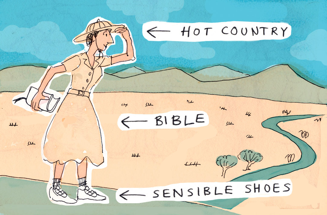 Illustration of a woman in brown clothes standing in a desert