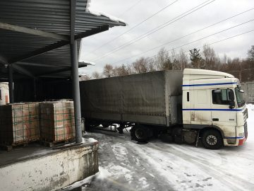A truck carrying boxes.