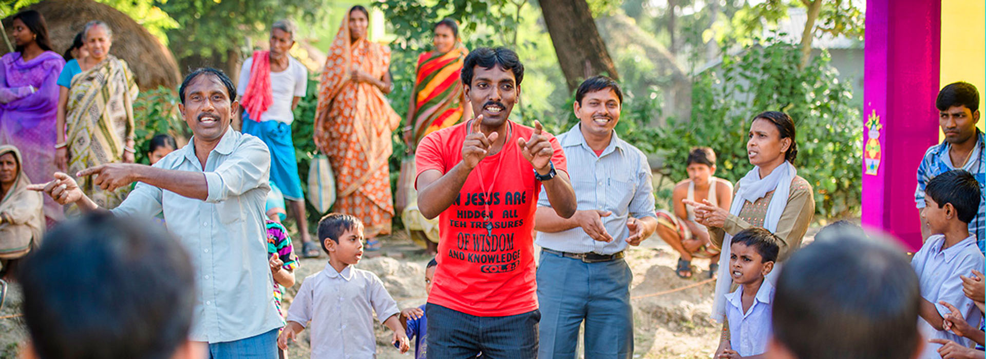 An open air worship/teaching session in India