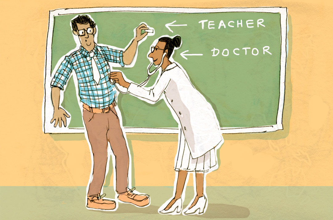 An illustration of a teacher and a doctor