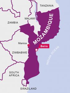 A map showing Beira, Mozambique