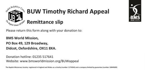 Timothy Richard appeal donation slip