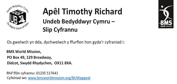 Slip Cyfrannu - Apêl Timothy Richard