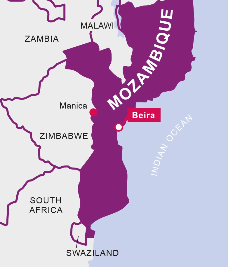 A vector graphic map shows where Beira is located in Mozambique.