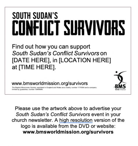 South Sudan's Conflict Survivors A7 ad for church newsletter - image