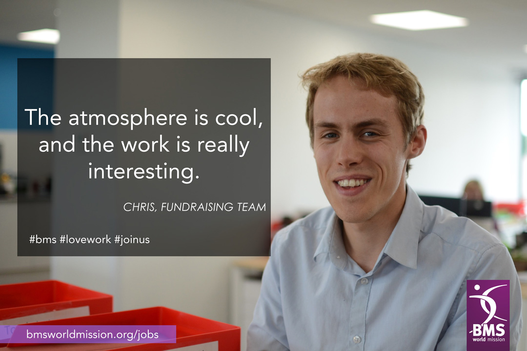 Photo of Chris, who says 'The atmosphere is cool, and the work is really interesting'