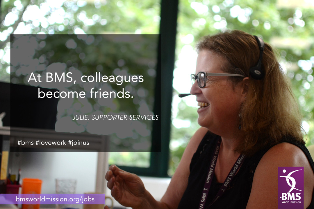 Photo of Julie, who says 'at BMS, colleagues become friends'.