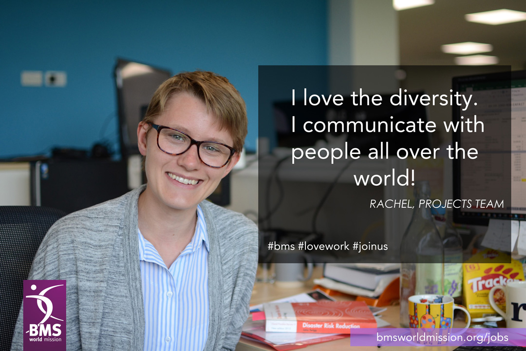 Photo of Rachel, who says 'I love the diversity. I communicate with people all over the world!'