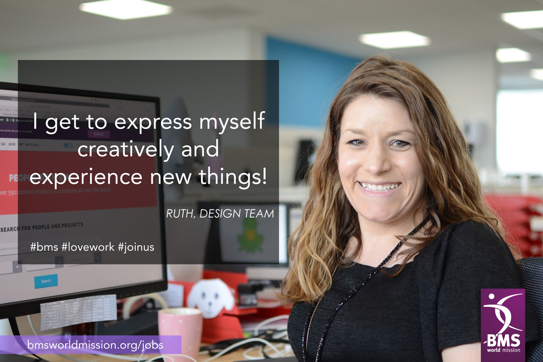 Photo of Ruth, saying 'I get to express myself creatively and experience new things'
