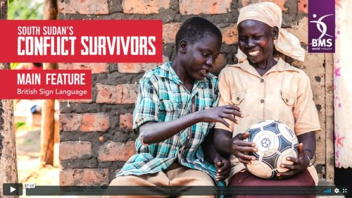 South Sudan's Conflict Survivors main feature british sign language version - image of mother and son with football