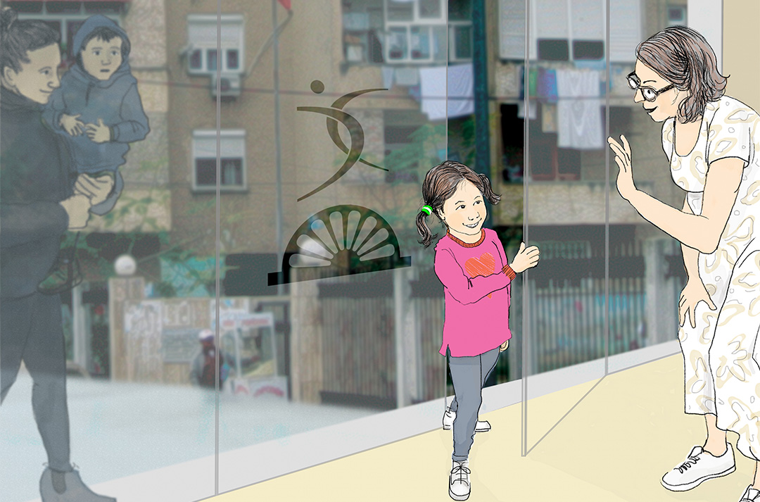 The small girl in the first image is now entering the glass doors of the Tek Ura Centre, welcomed and looking less invisible.