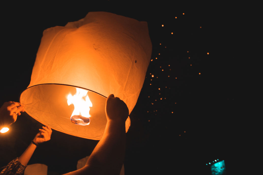 The Thailand Action team send a lantern into the night sky to celebrate New Year on their gap year. An Action Team photo competition submission.