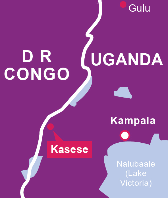 A purple map shows where Kasese, Uganda is.