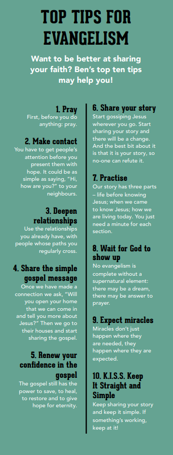 Top tips for evangelism graphic