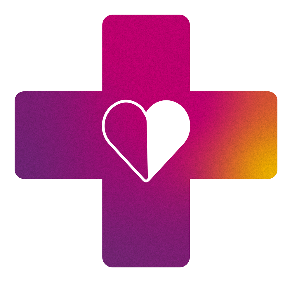 pink cross with heart logo